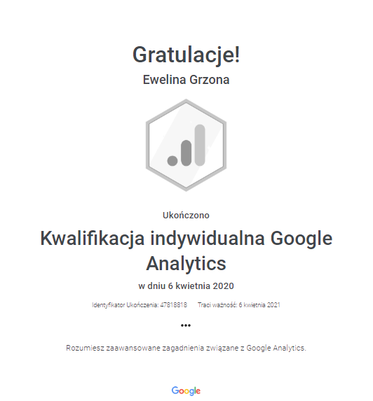 Google Analitycs - kwalifikacja indywidualna