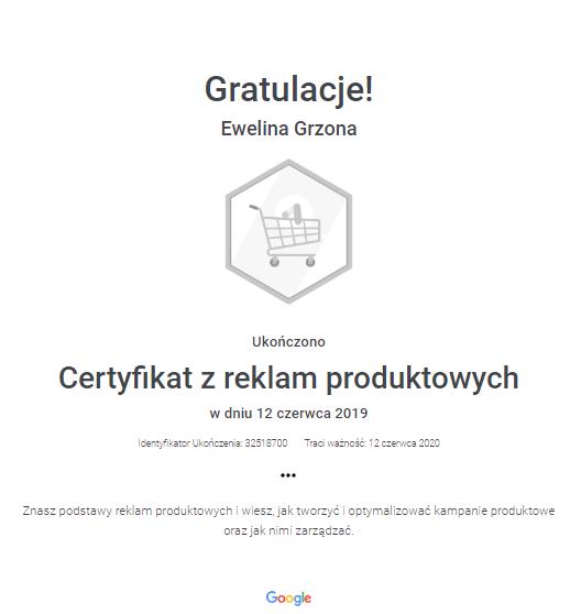 Certyfikat z reklam produktowych