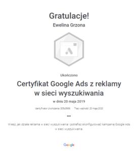 Certyfikat Google Ads z rekalmy w sieci wyszukiwania