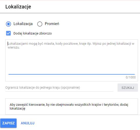 targetowanie reklam google ads po lokalizacji